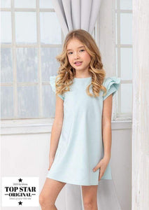 Mint green dress with ruffle sleeves Dresses