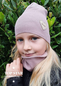 Pink pearl hat and neck warmer Hats
