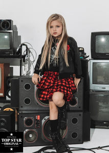 Red and black checkered skirt Skirts