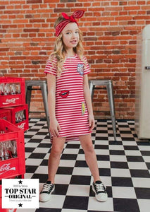 Red and white ribbed dress with stripes Dresses