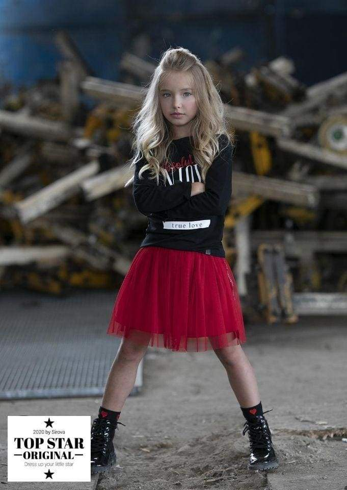 Red tulle skirt with ribbons Skirts