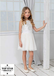 White pleated dress with sequins Dresses