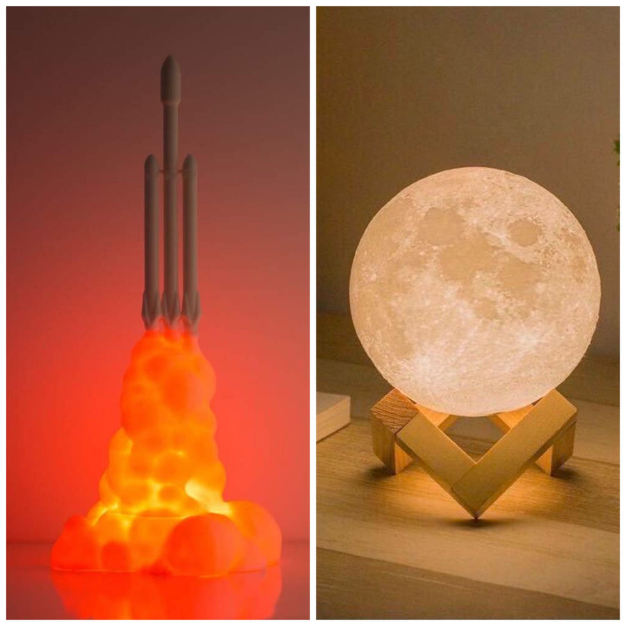 Falcon Heavy Rocket Lamp + Moon Lamp Bundle - Lamps From Space