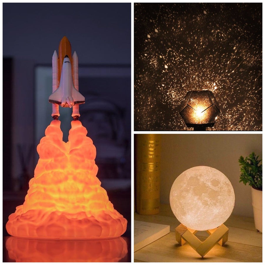 Moon Lamp + Star Projector + Atlantis Rocket Lamp Bundle - Lamps From Space