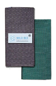 Wild Bee - Branded Cotton Checked Lungis - 2 Combo Pack (Blackish Violet, Dark Green)