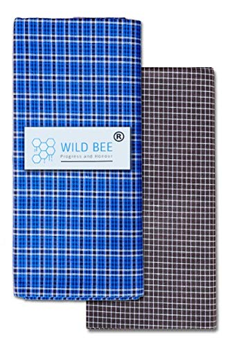 Wild Bee - Branded Cotton Checked Lungis - 2 Combo Pack (Dark Blue, Brown)