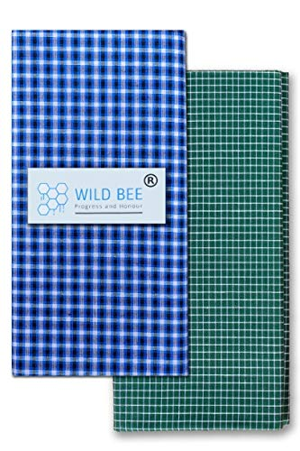 Wild Bee - Branded Cotton Checked Lungis - 2 Combo Pack (Dark Blue, Dark Green)