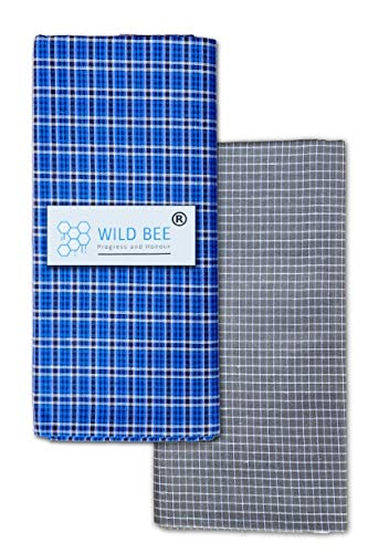 Wild Bee - Branded Cotton Checked Lungis - 2 Combo Pack (Dark Blue, Grey)