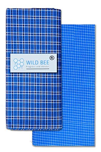 Wild Bee - Branded Cotton Checked Lungis - 2 Combo Pack (Dark Blue, Light Blue)