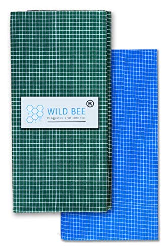 Wild Bee - Branded Cotton Checked Lungis - 2 Combo Pack (Dark Green Light Blue)