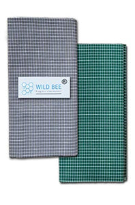 Wild Bee - Branded Cotton Checked Lungis - 2 Combo Pack (Grey, Dark Green)