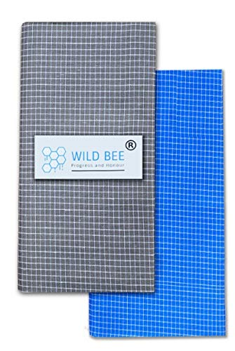 Wild Bee - Branded Cotton Checked Lungis - 2 Combo Pack (Grey, Light Blue)