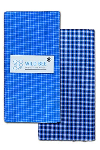 Wild Bee - Branded Cotton Checked Lungis - 2 Combo Pack (Light Blue, Dark Blue)
