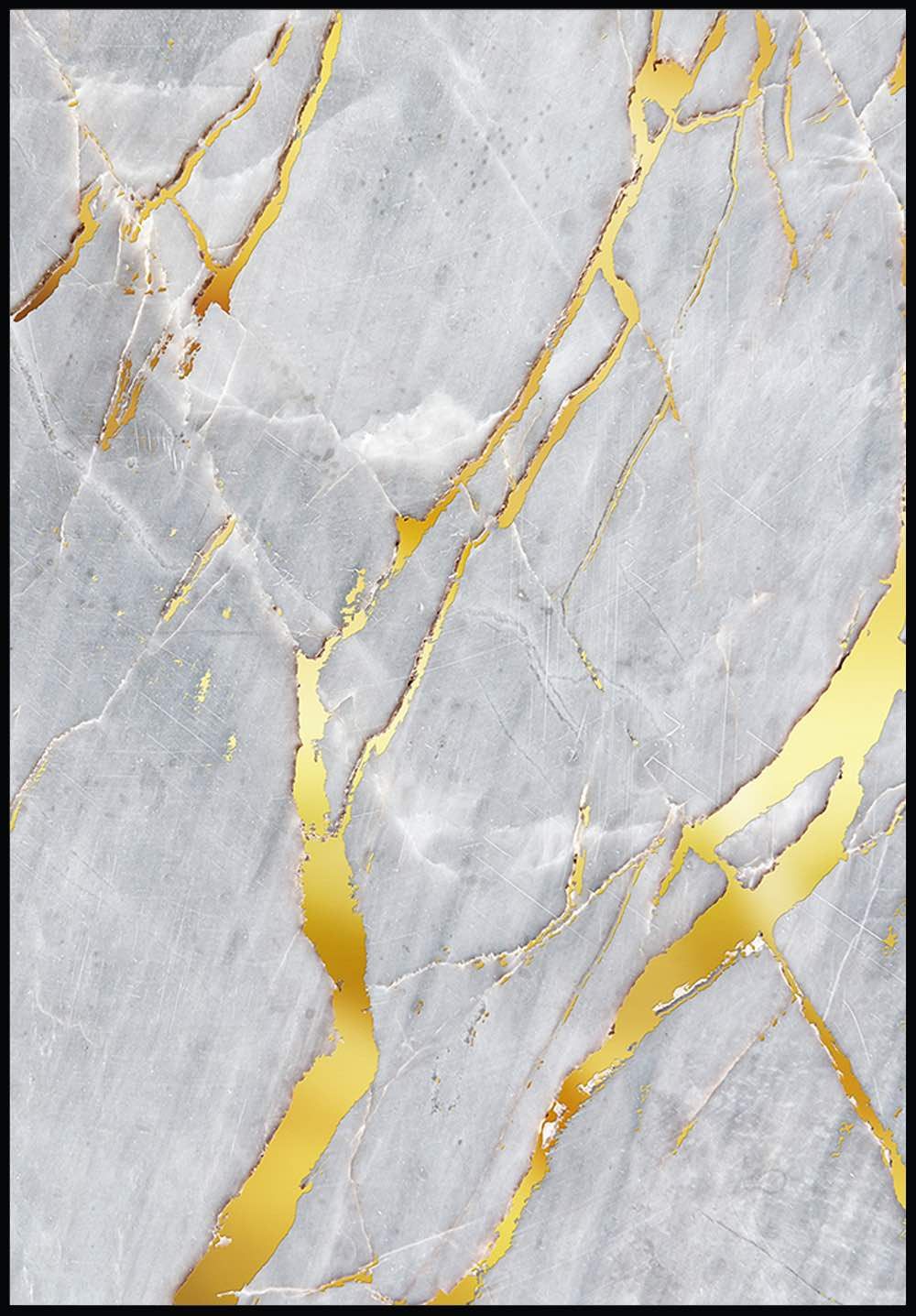 Grey Marble Real Gold Poster Glamposters