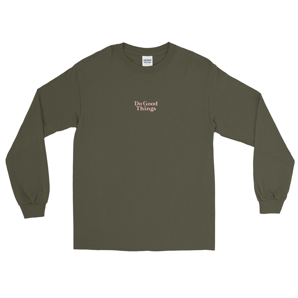 Do Good Things Long Sleeve Shirt in Olive Green