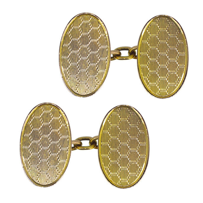 9ct Honey Comb Cuff links