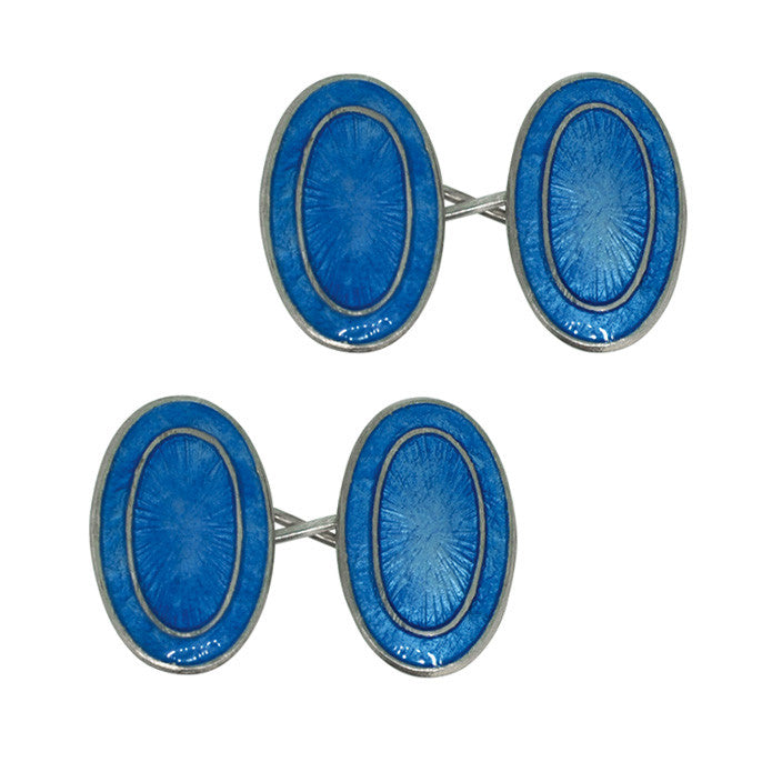 blue enamel cuff links