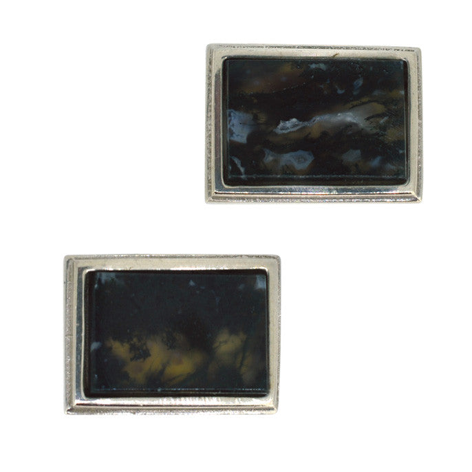 Moss Agate Cuff Links