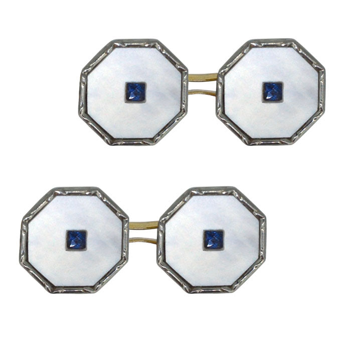 Mother of Pearl & Sapphire Cuff Links
