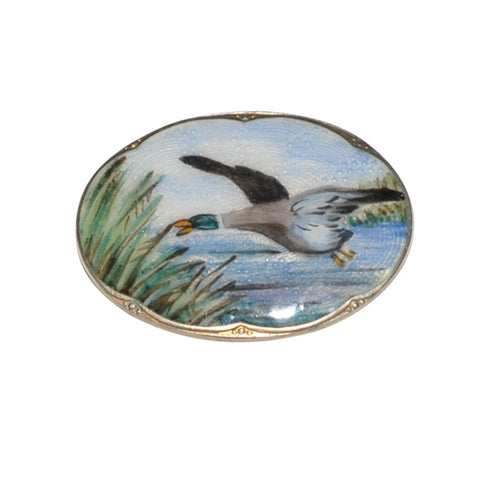 Oval Enamel Duck Brooch