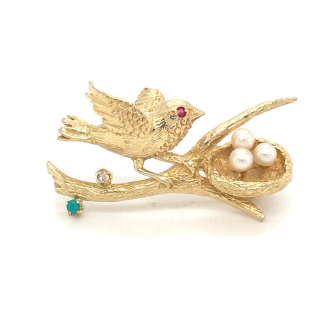 Bird & Nest Brooch