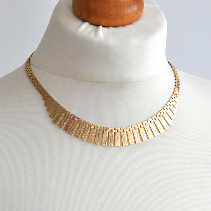 Gold Fringe Collar Necklace