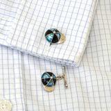Blue Enamel Cap and Whip Cuff Links