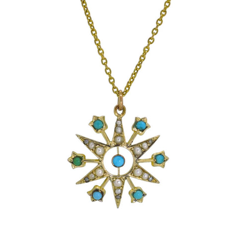Turquoise & Pearl Star Necklace