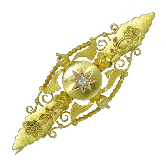 Diamond Bar Brooch