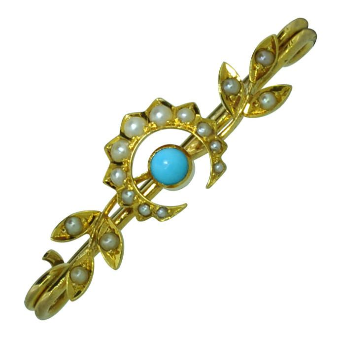 Victorian Pearl & Turquoise Brooch