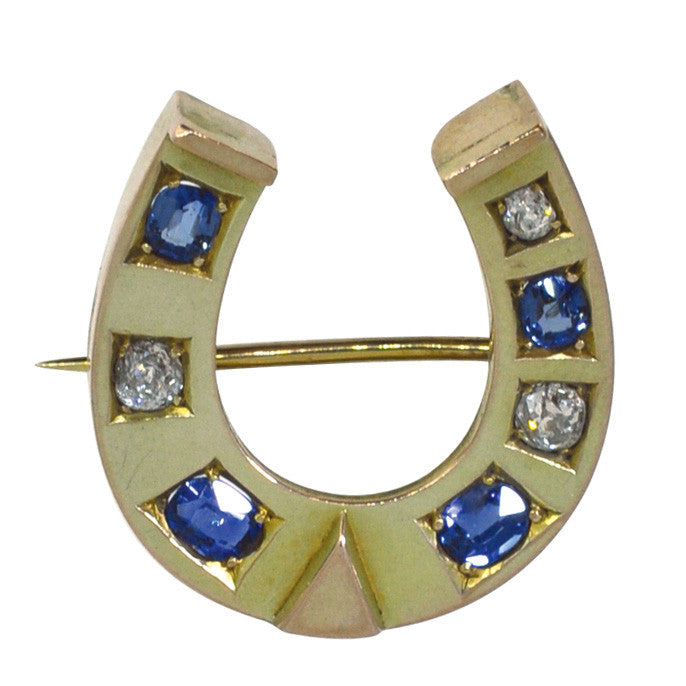 diamond horse shoe brooch