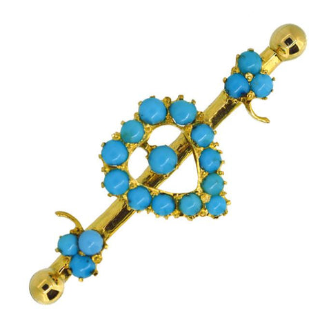 Turquoise Heart Brooch