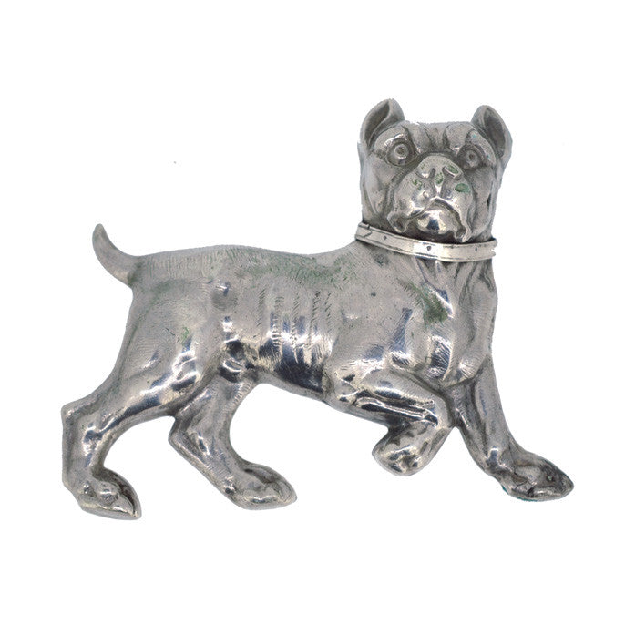 vintage silver dog brooch