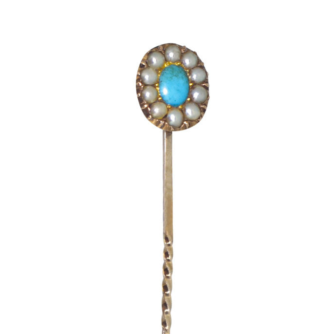 Turquoise & Pearl Tie Pin