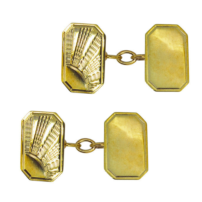 Gold Sun Ray Cuff Links