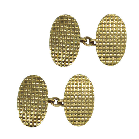 9ct Oval Checked Cuff Links