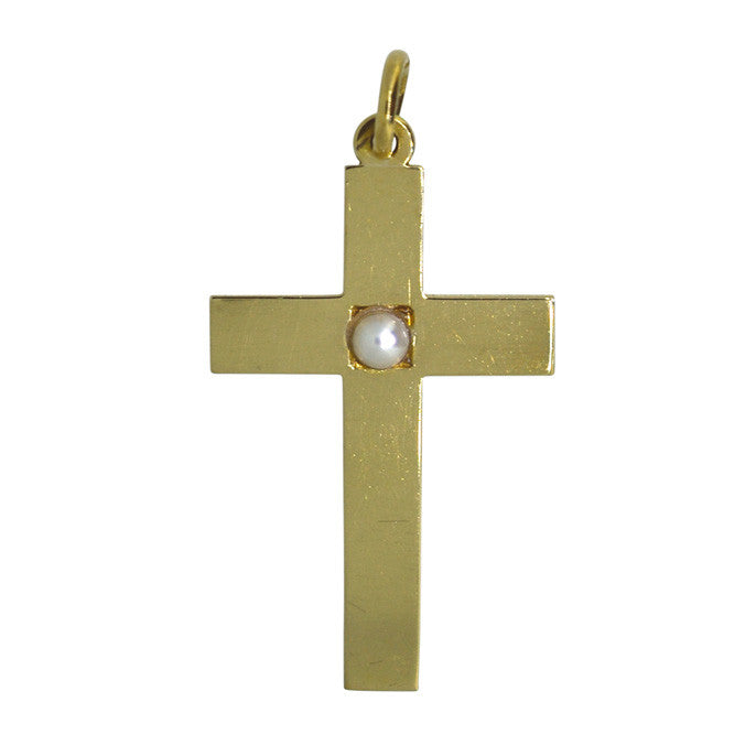 Antique Pearl Cross Pendant