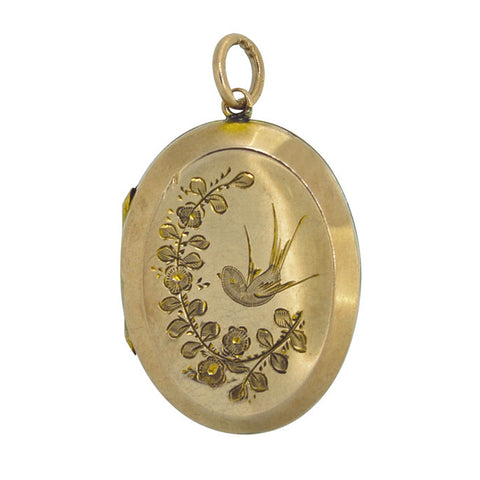 Oval 'Swallow' Engraved Locket