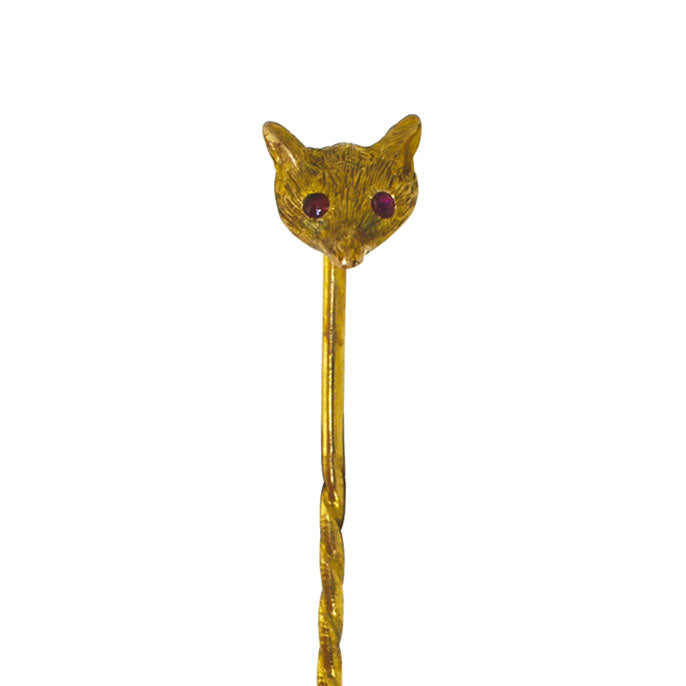 antique fox tie pin