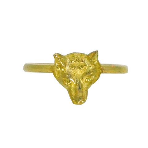 Gold Fox Head Ring