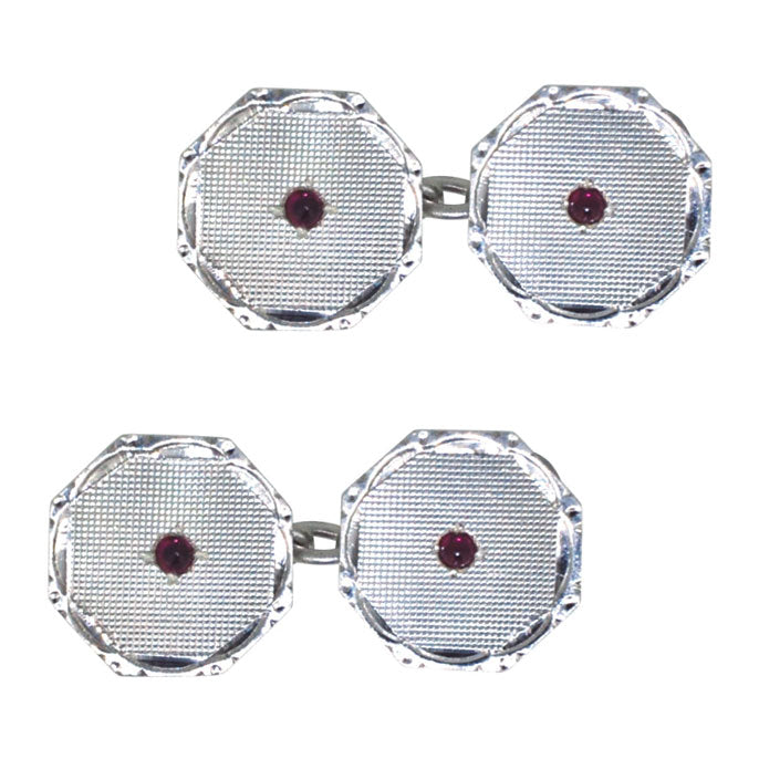 Silver & Ruby Cuff Links