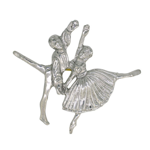 Silver Ballet Dancer Brooch