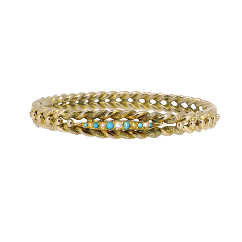 Turquoise & Pearl Gold Bangle
