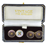 vintage black pearl cuff links