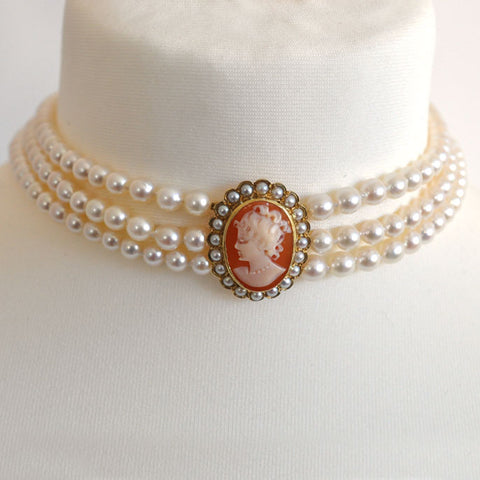 Pearl & Cameo Necklace