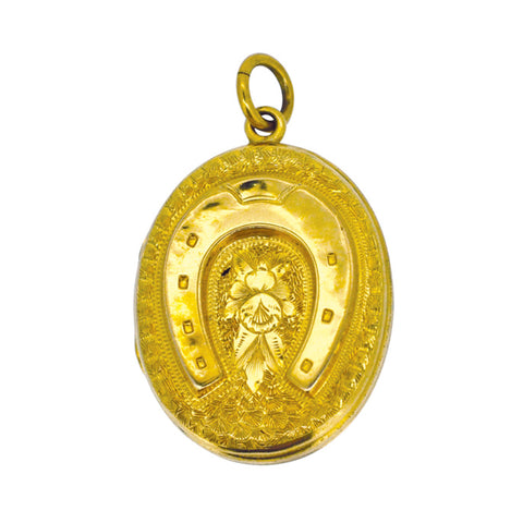 Antique Gold Horse Shoe Locket