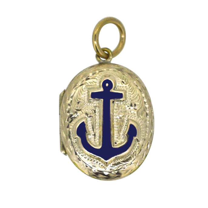 Blue Enamel Anchor Locket