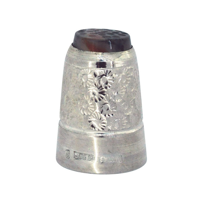 moss agate silver thimble
