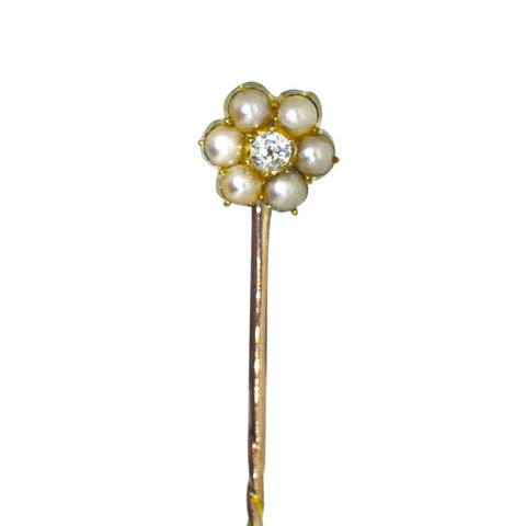 Pearl & Diamond Stick Pin