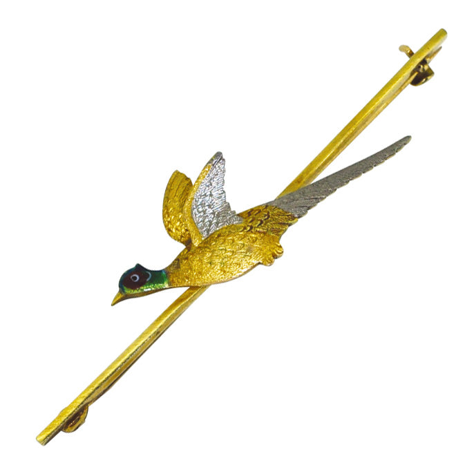Flying Pheasant Brooch